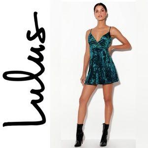 NWT Lulus Cabaret Forest Green Velvet Wrap Dress